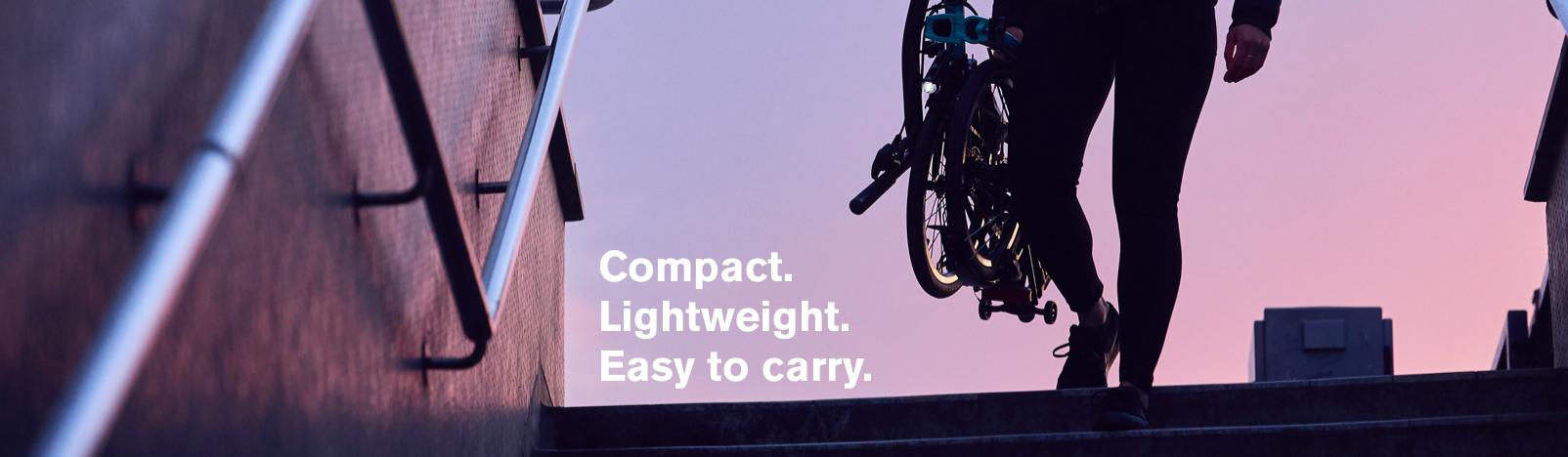 Brompton Bicycle, compact folding bike, lightweight folding bike, easy to carry folding bike